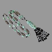 Qinghai Jade and Black Faceted Glass Artisan Tassel Necklace, 33""