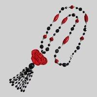 "Carved Cinnabar Pendant with Black Jet Glass tassel necklace, 36"""