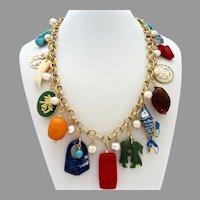 Asian Themed Artisan Statement Charm Necklace, 20 Inches