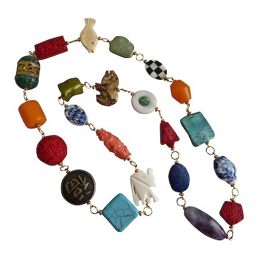 """Bright and Bold Chunky Asian Themed Artisan Statement Necklace, 37"""""""