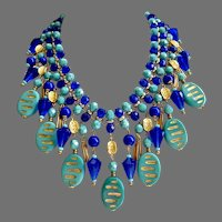 Stunning Statement Bib of Vintage Cobalt and Turquoise Glass Beads