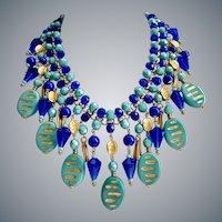 Stunning Statement Bib of Vintage Cobalt and Turquoise Glass Beads