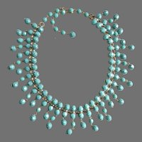 Turquoise Color Faceted Glass Artisan Bib Necklace with Earrings
