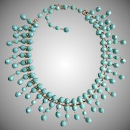 Turquoise Color Faceted Glass Artisan Bib Necklace