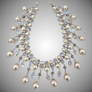 Crystal and Faux Pearls Artisan Statement Bib Necklace