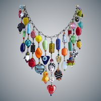 Bold Eclectic Artisan Bib Necklace of Multicolored Glass