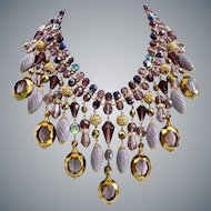 Artisan Lavender, Purple Statement Bib Necklace