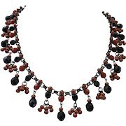 Flirty Artisan Mini Bib Necklace of Faceted Czech Glass and Satin Copper Beads