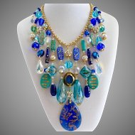 Big Bold Beautiful Cobalt, Aqua Glass and Crystal Artisan Bib Necklace