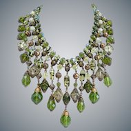 Statement Bib of Mixed Green Crystal and Pressed Czech Glass Beads, Vintage and New