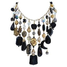 Big and Bold Black, Goldtone and Crystal Cascading Bib Statement Necklace and Earrings