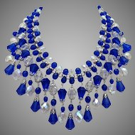 Cobalt Blue Vintage Glass Teardrops and Aurora Borealis Crystal Bib Statement Necklace