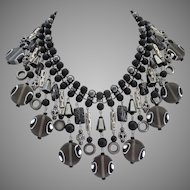 Lavish Statement Bib Necklace of Neutral Greys and Blacks