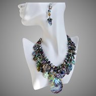 Abalone, Crystal and Freshwater Pearls Artisan Statement Bib