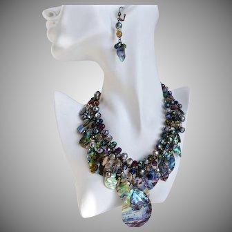 Abalone, Crystal and Freshwater Pearls Artisan Statement Bib