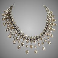 """Dirty Diamonds"" Faceted Crystal Artisan Bib Necklace"