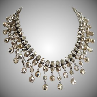 """""""Dirty Diamonds"""" Faceted Crystal Artisan Bib Necklace"""