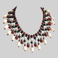 Carnelian, Black Onyx and Vintage Pikake Celluloid Beads Bib Necklace