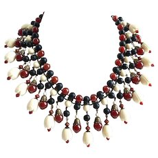 Carnelian, Black Onyx and Vintage Pikake Celluloid Beads Bib Necklace