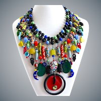 Eclectic Multicolored Glass Beads Bib Collar Necklace, Ethnic/African