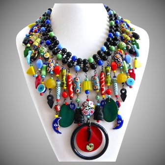 Eclectic Multicolored Glass Beads Bib Collar Necklace