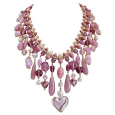 Artisan Bib Necklace of Mixed Pink Glass, Crystal and Rhinestones with Earrings