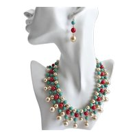 Statement Artisan Bib Necklace of Faux Coral/ Creamy Pearls/ and Turquoise with Earrings