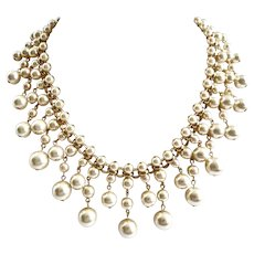 Statement Bib Necklace of Cream Colored Glass Faux Pearls
