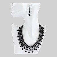 Vintage Inspired Artisan Bib Necklace, Black Jet Glass