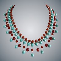 Bib Necklace of Faceted Turquoise and Carnelian Colored Glass Beads, with Earrings