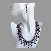 Artisan Bib Necklace of Garnet Aurora Borealis Cut Crystal Beads with Earrings