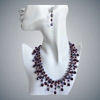 Artisan Bib Necklace of Garnet Aurora Borealis Cut Crystal Beads with Earrings