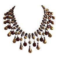 Vintage Inspired Artisan Bib Necklace of Light and Dark Bronze Glass Beads