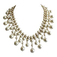 Artisan Bib Necklace of Cream Colored Glass Faux Pearls with Earrings