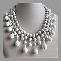 Artisan Bib Necklace of Vintage Chalk White Faceted Glass Beads