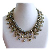 Vintage Inspired Artisan Bib Necklace and Earrings, Gray AB