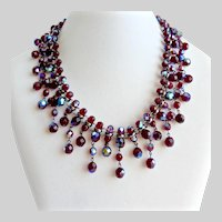 Garnet Aurora Borealis Cut Crystal Beads in a Bib Necklace, with Earrings
