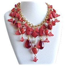Artisan Bib Necklace of Mixed Reds Glass and Crystals with Vintage Cherries
