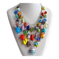 Eclectic Artisan Bib Necklace of Multi Colored Glass