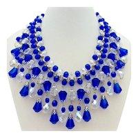 Cobalt Blue Vintage Glass Teardrops and Aurora Borealis Crystal Bib Statement Necklace