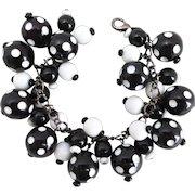 Black and White Polka Dot Artisan Charm Bracelet