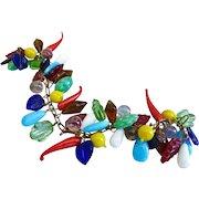 Artisan Bracelet of Multicolored Vintage Glass Charms
