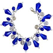 Cobalt Blue Vintage Teardrop Beads Artisan Charm Bracelet