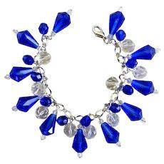 Cobalt Blue Vintage Teardrop Beads Charm Bracelet