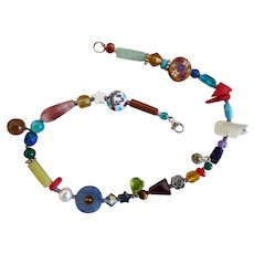 """Pretty Artisan Anklet Ankle Bracelet of Multi Colored Gemstones and Glass Beads, 11"""""""