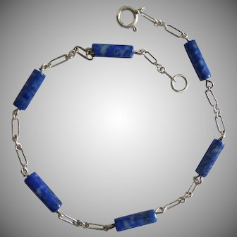 Sterling Silver and Lapis Lazuli Ankle Bracelet Anklet, 10 inches
