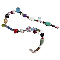 Multicolored Artisan Ankle Bracelet Anklet of Gemstones, Freshwater Pearls and Crystal Beads, 10.5 inches