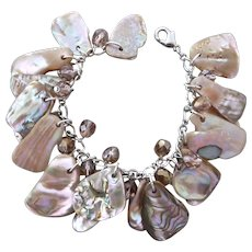 Artisan Charm Bracelet of Natural and Amorphous Pink Abalone Pieces