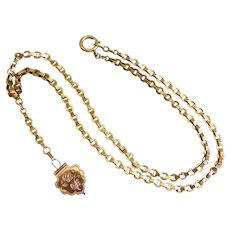 15 Karat Antique Yellow Gold Chain with Rose Gold Locket, Estate, 23.5""