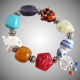 Asian Themed Multicolored Stretch Bracelet